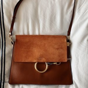 Chloe Faye Medium Shoulder Bag in Tobacco
